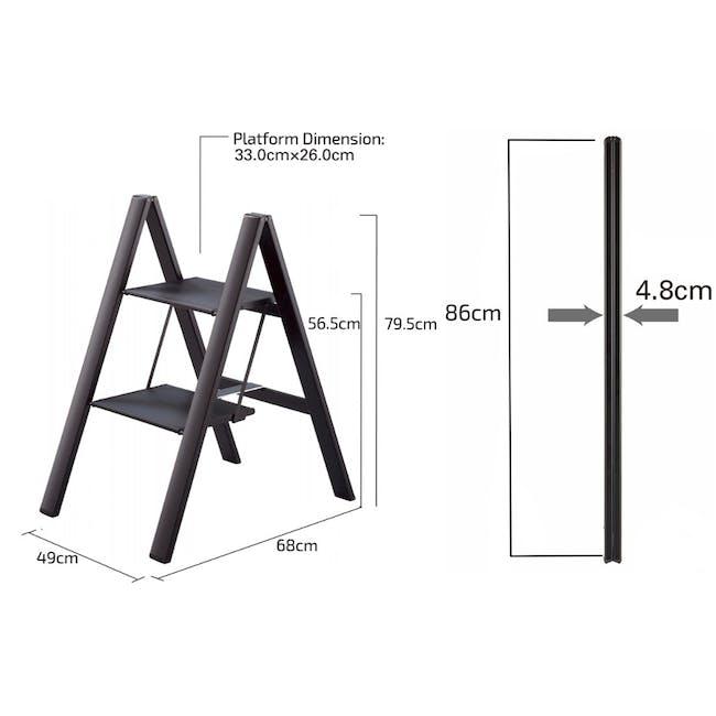 Hasegawa Lucano Slim Aluminium 2 Step Stool - Black - 4