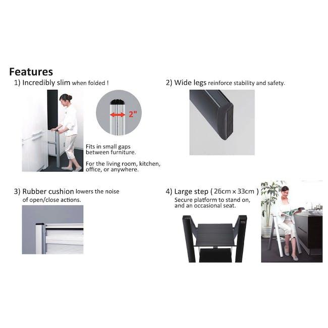 Hasegawa Lucano Slim Aluminium 3 Step Stool - Silver - 8