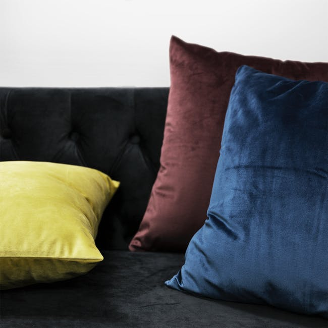 Alyssa Velvet Lumbar Cushion - Burgundy - 1