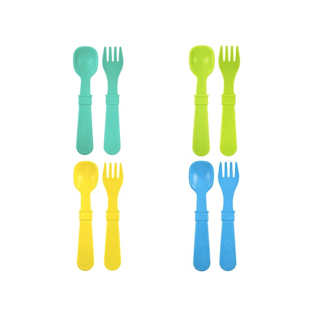 Re-Play Forks & Spoons Set of 4 - Boy - 0