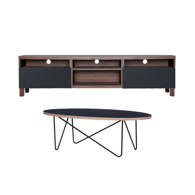 Gordon TV Console 1.8m in Walnut with Seifer Coffee Table - 0