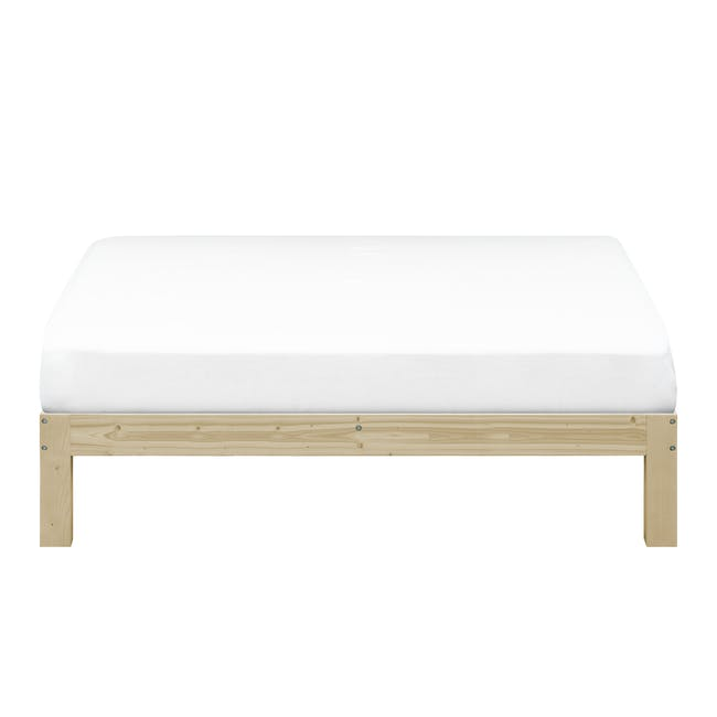 Katana Queen Headboard Bed with 2 Bowen Bedside Tables in Natural, White - 1