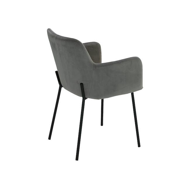 Dakota Dining Armchair - Grey (Velvet) - 4