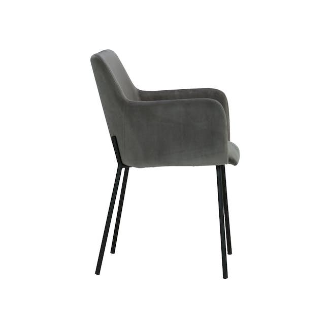 Dakota Dining Armchair - Grey (Velvet) - 3