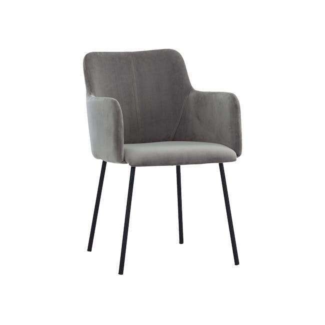 Dakota Dining Armchair - Grey (Velvet) - 0