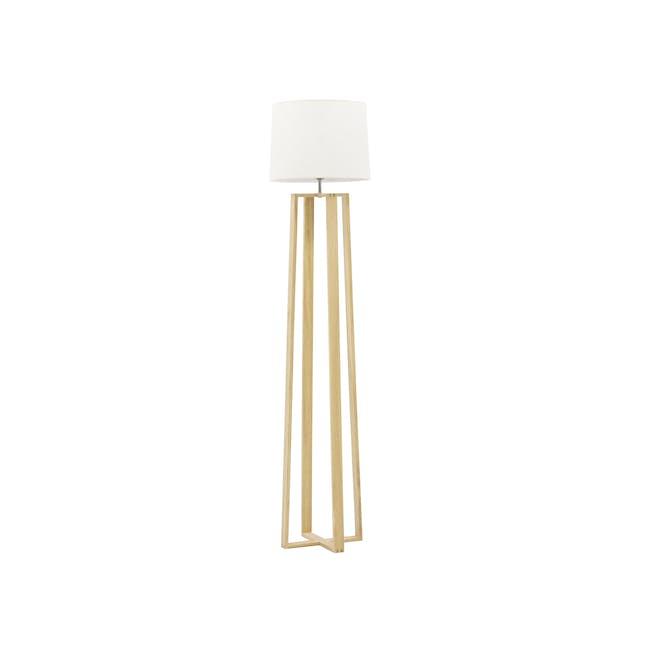 Amber Floor Lamp - Oak, White - 0