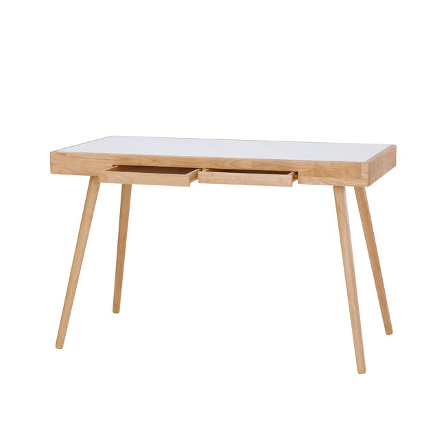 Reth Study Table - White, Natural - 0