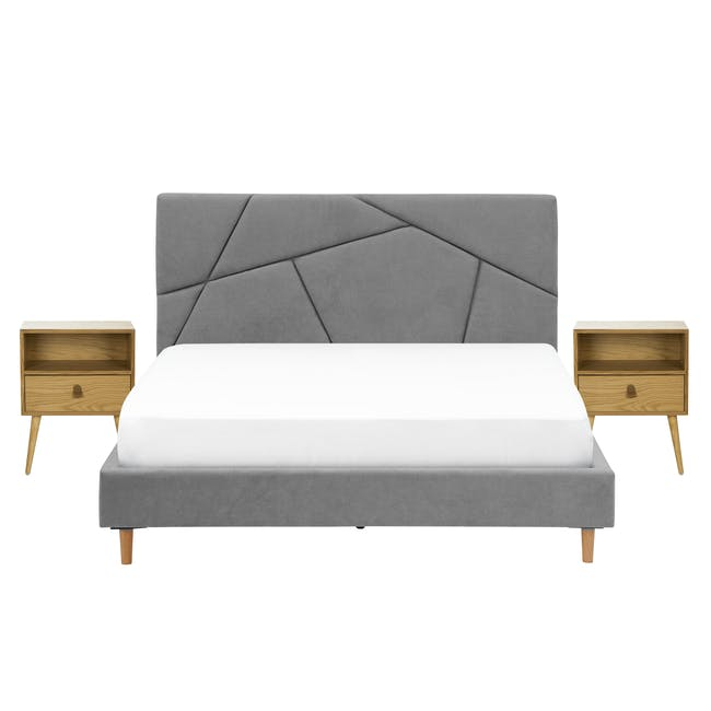 Kieran King Bed in Gray Owl with 2 Odin Bedside Tables in Natural - 0
