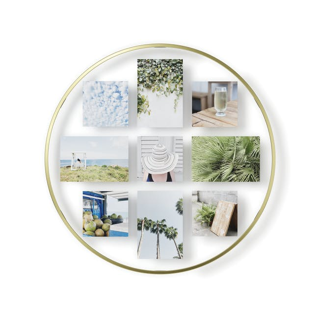 Infinity Wall Float Round Photo Display - Brass - 0