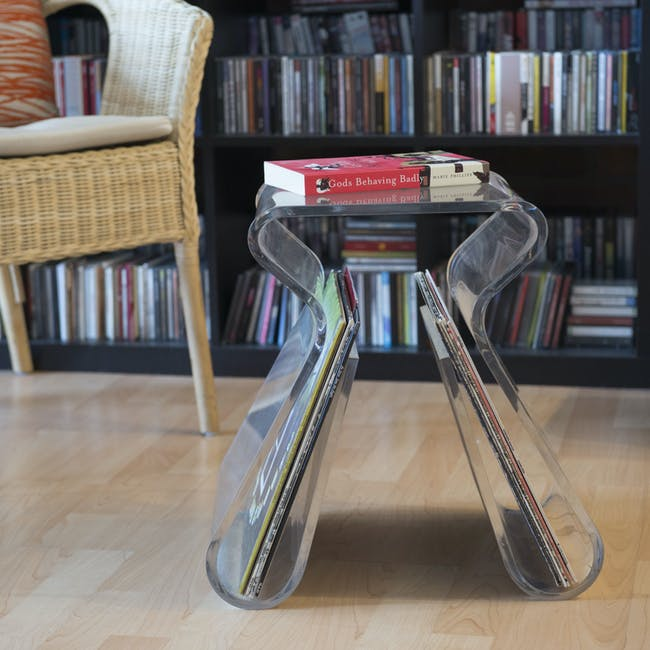 Magino Stool with Magazine Rack - Clear - 5
