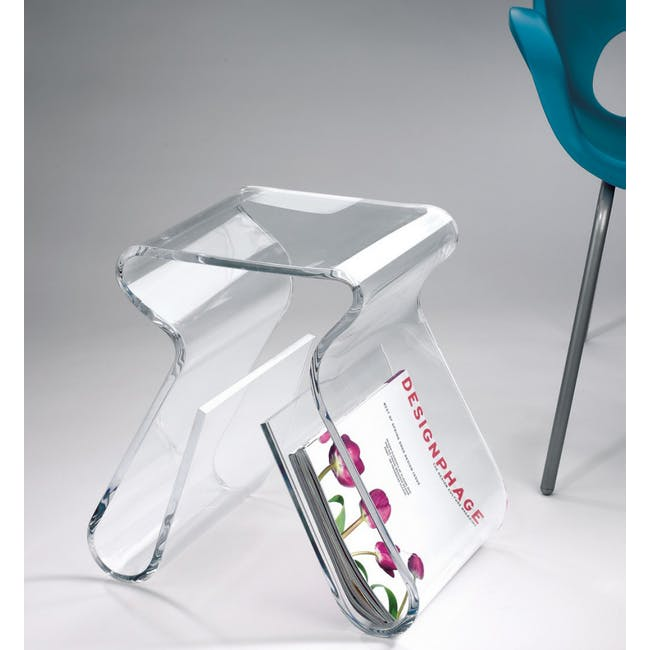 Magino Stool with Magazine Rack - Clear - 2