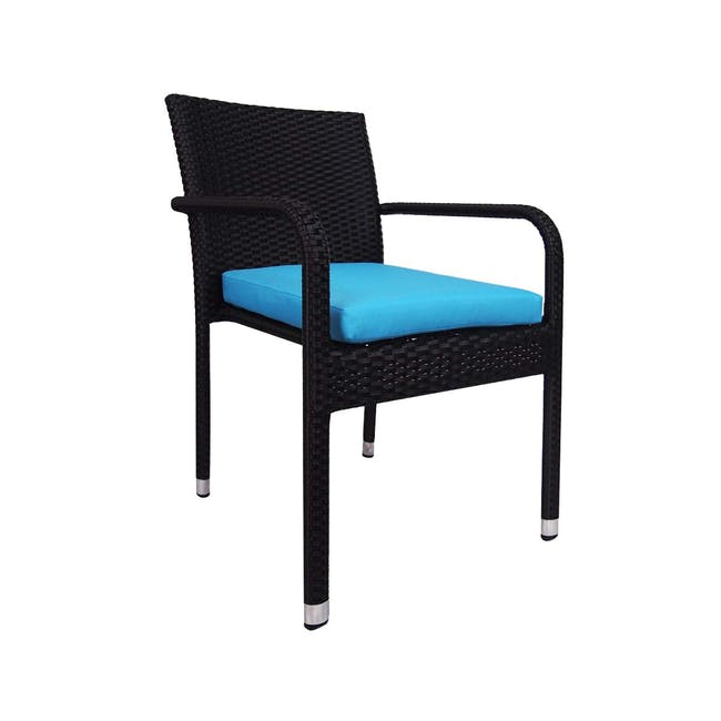 Palm Outdoor Dining Couple Set - Blue Cushions - 2