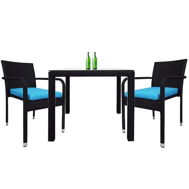 Palm Outdoor Dining Couple Set - Blue Cushions - 0