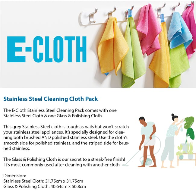 e-cloth Stainless Steel Eco Cleaning Cloth Pack (Set of 2) - 2