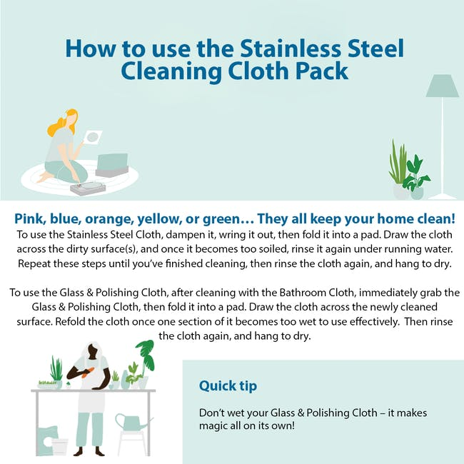 e-cloth Stainless Steel Eco Cleaning Cloth Pack (Set of 2) - 5