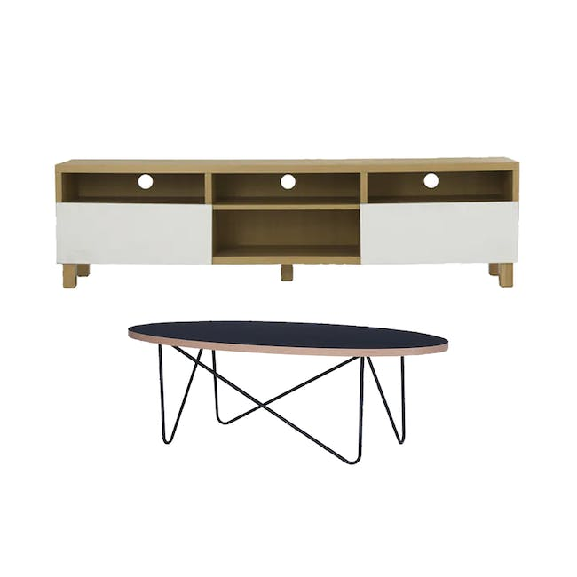 Gordon TV Console 1.8m in Oak with Seifer Coffee Table - 0