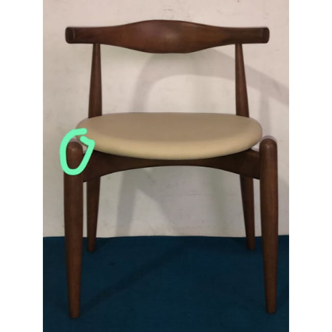 (As-is) Bouvier Dining Chair - Walnut, Cream - 1 - 2