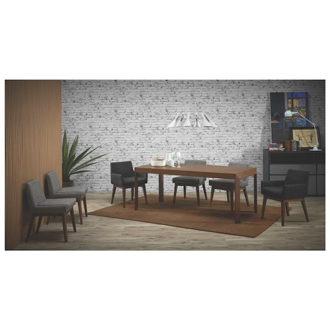 Clarkson Dining Table 2.2m in Cocoa with 4 Fabian Chairs in Cocoa, Dolphin Grey - 12