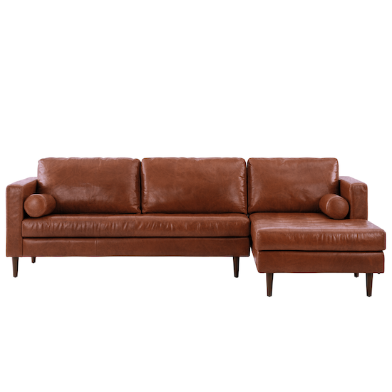 Nolan L-Shaped Sofa - Cigar (Premium Waxed Leather)