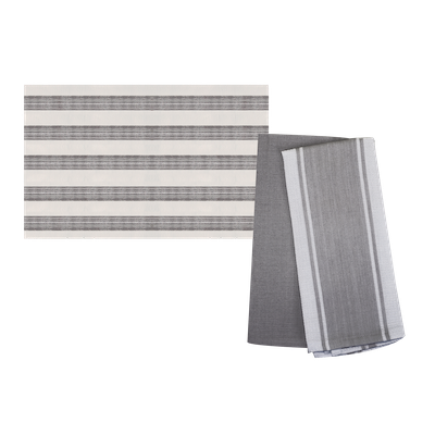 Jacquard Kitchen Towel (Set of 2) with Bold Stripes Floor Mat - Dark Grey - Image 1