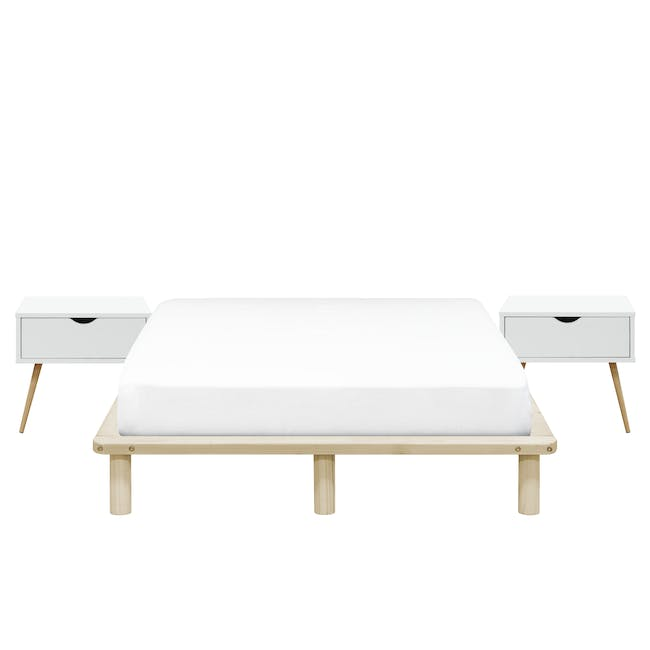 Hiro Queen Platform Bed with 2 Dallas Bedside Tables - 0