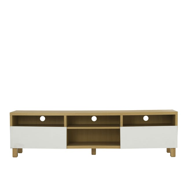 Gordon TV Console 1.8m in Oak with Seifer Coffee Table - 1