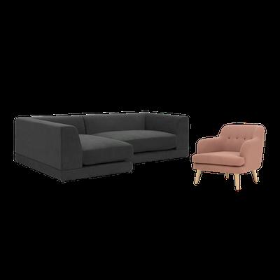 Abby L Shape Sofa and Lanaya Armchair - Image 1
