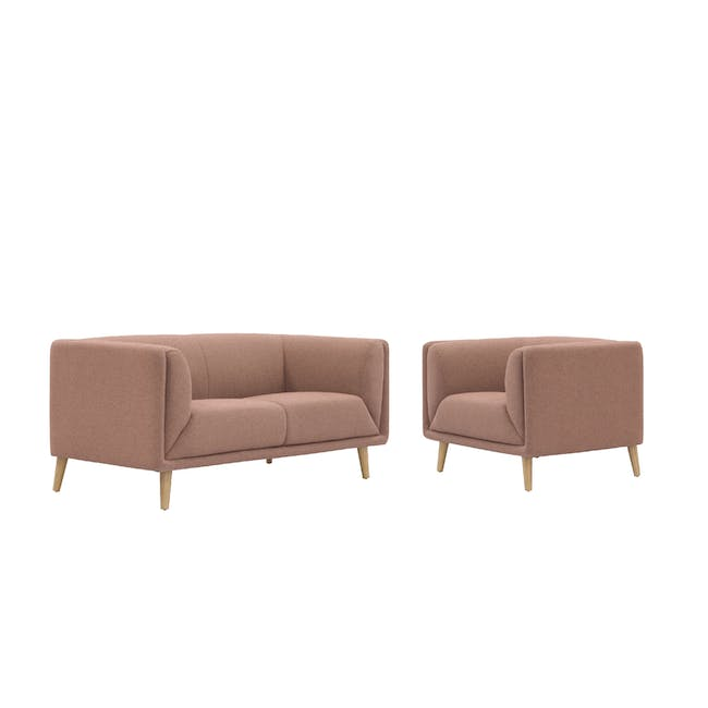 Audrey 2 Seater Sofa with Audrey Armchair - Blush - 0