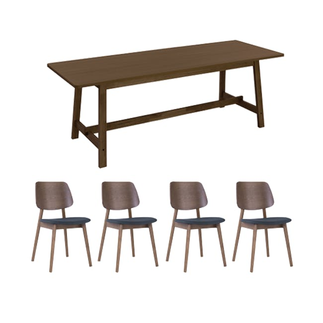 Haynes Dining Table 2.2m with 4 Riley Dining Chairs in Dark Grey - 0