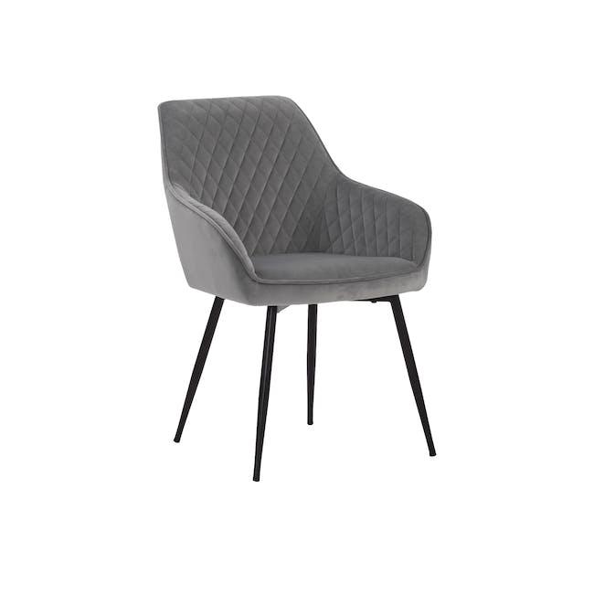 Hakon Dining Arm Chair - Grey (Velvet) - 0