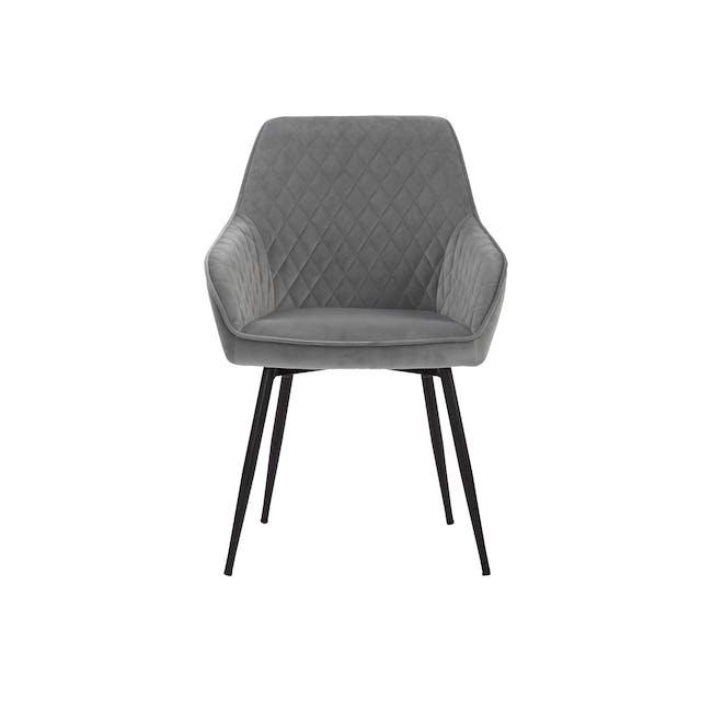 Hakon Dining Arm Chair - Grey (Velvet) - 2