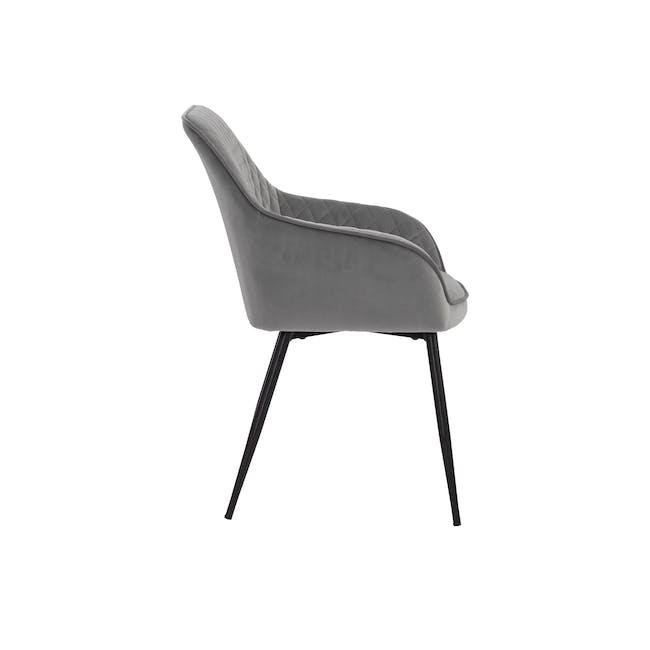 Hakon Dining Arm Chair - Grey (Velvet) - 3