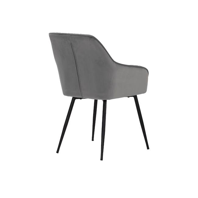 Hakon Dining Arm Chair - Grey (Velvet) - 4