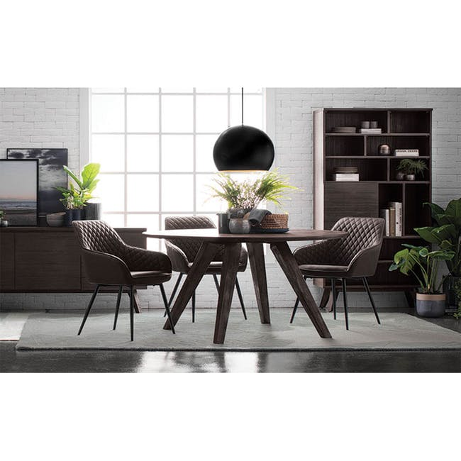 Hakon Dining Arm Chair - Grey (Velvet) - 1