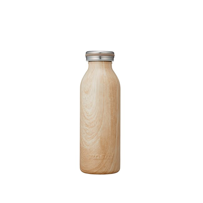 MOSH! Double-walled Stainless Steel Bottle 450ml -  Brown Wood - 0