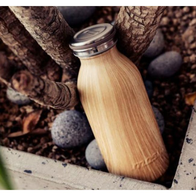 MOSH! Double-walled Stainless Steel Bottle 450ml -  Brown Wood - 3