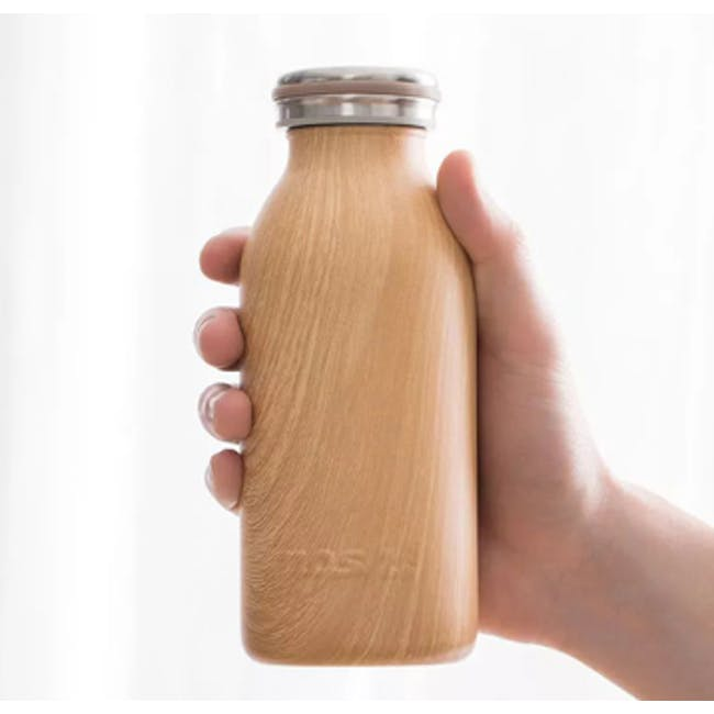 MOSH! Double-walled Stainless Steel Bottle 450ml -  Brown Wood - 4