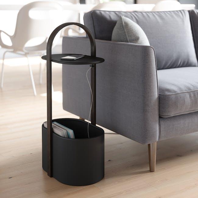 Hub Side Table with Storage - Black, Walnut - 7
