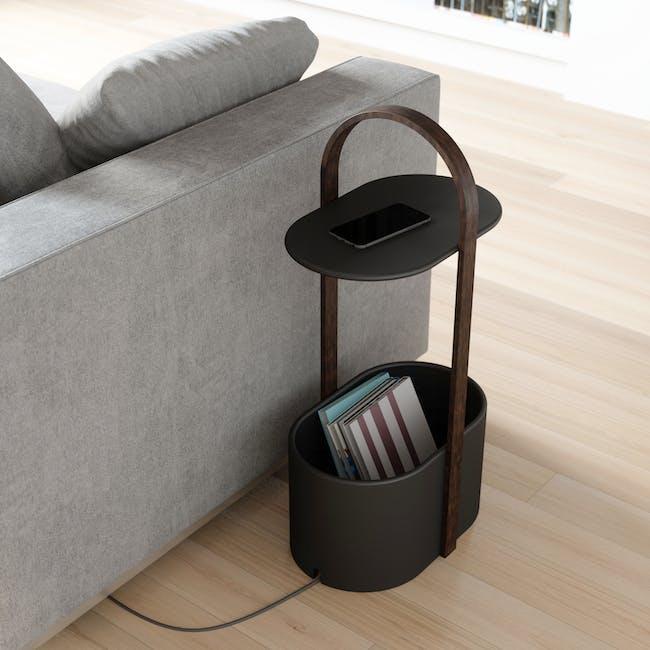 Hub Side Table with Storage - Black, Walnut - 6