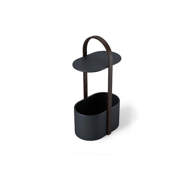 Hub Side Table with Storage - Black, Walnut - 1