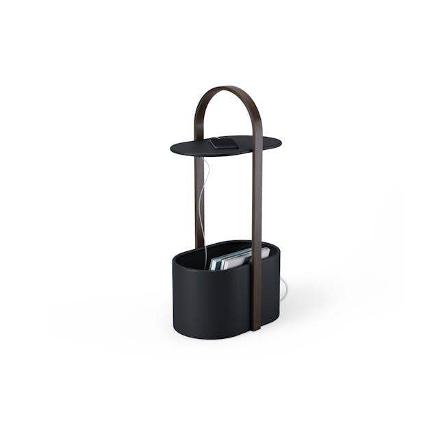 Hub Side Table with Storage - Black, Walnut - 0