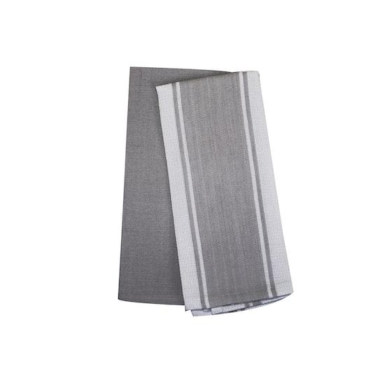 Jacquard Kitchen Towel Set Of 2 Dark Grey
