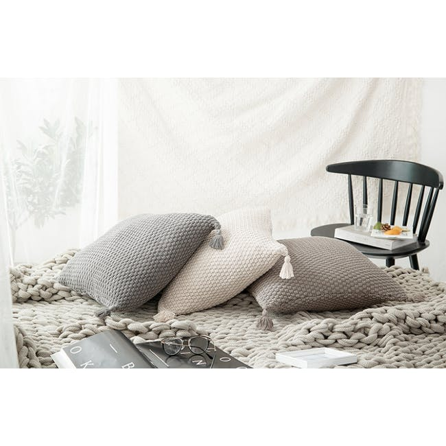 Laura Knitted Cushion Cover - Grey - 1