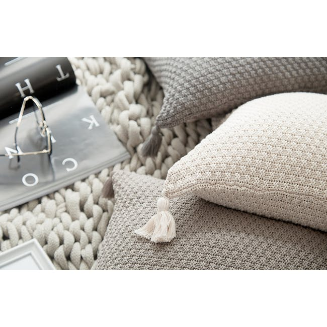 Laura Knitted Cushion Cover - Grey - 4