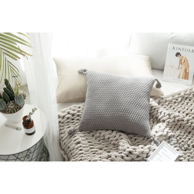 Laura Knitted Cushion Cover - Grey - 3