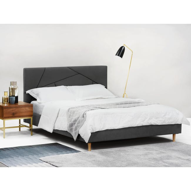 Kieran King Bed in Onyx Grey with 2 Odin Bedside Tables in Natural - 2