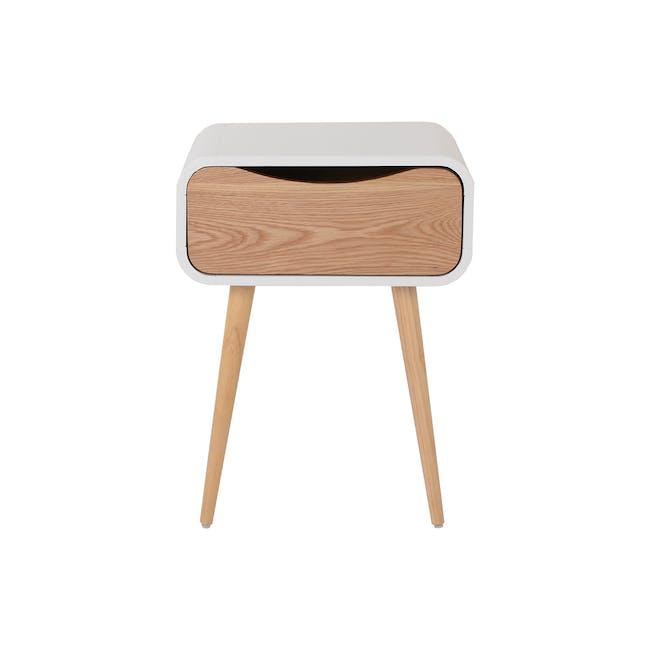 Albie Bedside Table - Oak, White - 1