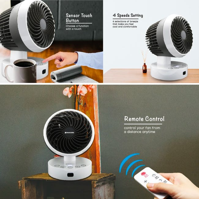 SOUNDTEOH 6 Inch Air Circulator Fan with Remote Control - 1