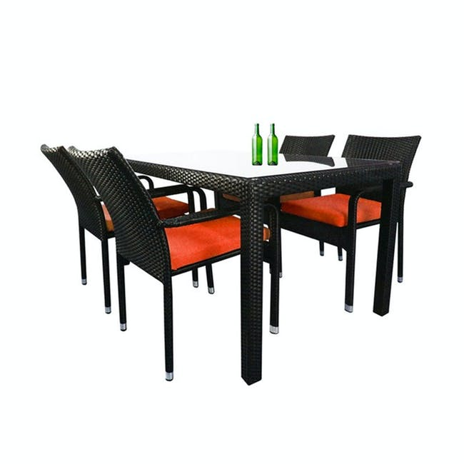 Boulevard Outdoor Dining Set with 4 Chair - Orange Cushion - 0