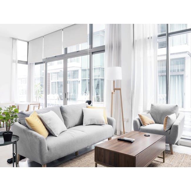 Hana 3 Seater Sofa- Light Grey - 1